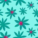Zomers Tropisch die Patroon door Installaties en Roze Fruit wordt gemaakt royalty-vrije illustratie