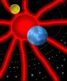 Zon, Aarde en Maan in fantastische ruimte Stock Fotografie
