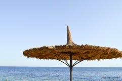 Zon-beschermende mooie natuurlijke unieke paraplu's in de vorm van een strohoed tegen droge takken tegen een blauwe hemel, het ov Royalty-vrije Stock Afbeeldingen