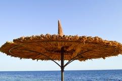 Zon-beschermende mooie natuurlijke unieke paraplu's in de vorm van een strohoed tegen droge takken tegen een blauwe hemel, zoute  Stock Foto