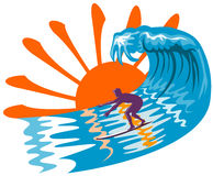 Zon, branding en surfer stock illustratie