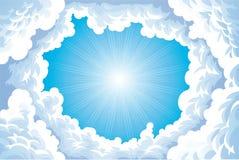 Zon in de hemel met wolken. royalty-vrije illustratie