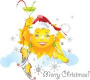Zon in de winter stock illustratie