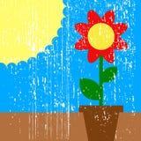 Zon en bloem Royalty-vrije Stock Foto's