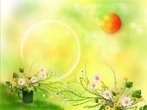 Zon en bloemen stock afbeelding