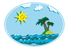 Zon en eiland Royalty-vrije Stock Afbeelding