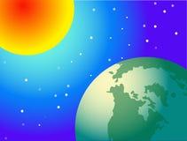 Zon en glob Royalty-vrije Stock Foto's