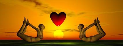 Zon en hart en yoga Royalty-vrije Stock Afbeeldingen