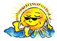 zon en hemel en Zonnebrand en rust Royalty-vrije Stock Foto