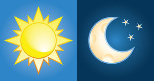 Zon en maan vector illustratie