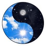 Zon en maan stock fotografie