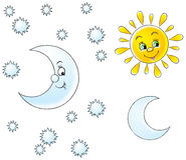 Zon en maan stock illustratie