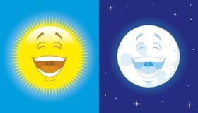 Zon en maan Stock Foto's