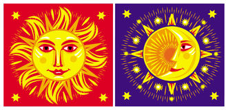 Zon en maan. Stock Fotografie