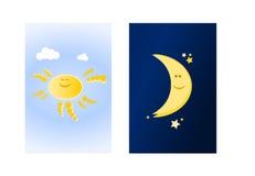 Zon en maan (ii) Royalty-vrije Stock Afbeelding