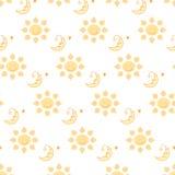 Zon en maanpatroon op transparante illustratie als achtergrond Stock Fotografie