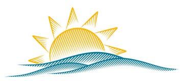 Zon en Overzees royalty-vrije illustratie