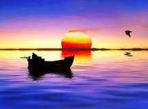 Zon en overzees stock fotografie