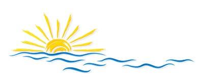 Zon en Overzees vector illustratie