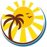 Zon en overzees met een palm stock illustratie