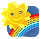Zon en regenboog Stock Afbeelding