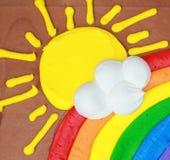 Zon en Regenboog Stock Foto