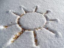 Zon en sneeuw eens een vriend Stock Foto's