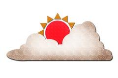 Zon en wolk waterwater op wit Royalty-vrije Stock Afbeeldingen