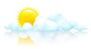 Zon en wolken stock illustratie