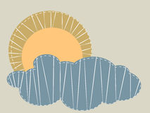 Zon en wolken stock illustratie