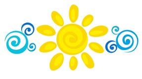 Zon en wolken royalty-vrije illustratie