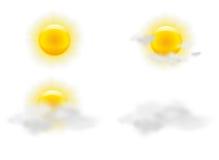 Zon en wolken in geplaatste weerpictogrammen Royalty-vrije Stock Foto's