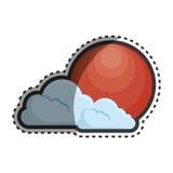 Zon en wolken Japans cultuur geïsoleerd pictogram Stock Afbeeldingen
