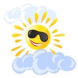 Zon en wolkenbeeldverhaal Stock Foto's