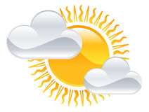 Zon en wolkenpictogram Royalty-vrije Stock Fotografie