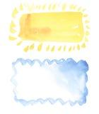 Zon en wolkenwaterverfkader Stock Afbeeldingen