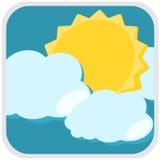 Zon en wolkenweerillustratie Royalty-vrije Stock Afbeelding