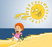 Zon en zonnebrand Stock Afbeelding