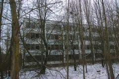 Zon för spökePripyat Tjernobyl uteslutande på vintern royaltyfri fotografi
