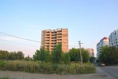 Zon för spökePripyat Tjernobyl uteslutande på vintern royaltyfri bild