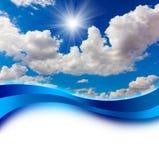 Zon in het Blauwe Ontwerp van de Dekking van de Hemel Royalty-vrije Stock Afbeeldingen