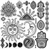Zon, maan en ornamenten uitstekende vectorreeks Royalty-vrije Stock Fotografie
