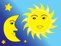 Zon, maan en sterren Vector Illustratie