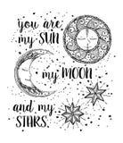 Zon, maan en sterren royalty-vrije illustratie