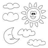 Zon, maan en wolken vectordiepictogrammen op witte achtergrond worden geïsoleerd Royalty-vrije Stock Fotografie