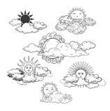 Zon met de Getrokken Inzameling van de wolkenkrabbel Hand Stock Foto's
