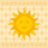 Zon met gezicht Shrovetide of Maslenitsa Prentbriefkaar met traditie royalty-vrije stock foto