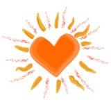 Zon met hart, vector Stock Afbeeldingen