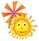 Zon met parasol, grappig concept de zomer Stock Afbeeldingen