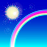 Zon met regenboog Royalty-vrije Stock Foto